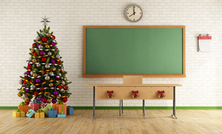 Classroom without student with christmas tree and decoration - rendering photo