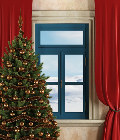 Detail of a room with christmas tree, window and curtains-rendering-the art picture on wall is a my photo