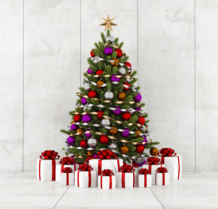 Colorful christmas tree with gift in a concrete room - rendering Stock Photo