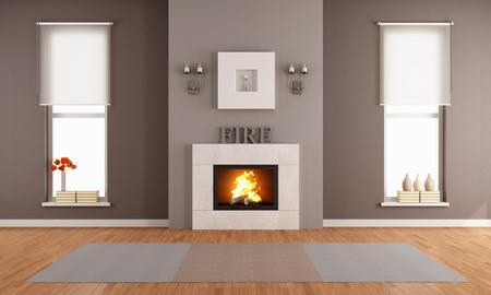Moderní obývací pokoj s krbem a dvěma svislými okny - vykreslování Reklamní fotografie