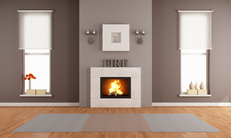 Modern living room with fireplace and two vertical windows - rendering