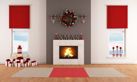 fireplace living room: Modern Christmas living room with fireplace and decoration Stock Photo