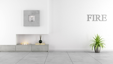 text room: Contemporary fireplace ina minimalist living room - Rendering
