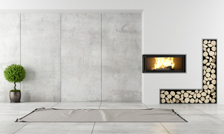 Minimalist living room with fireplace without furniture Foto de archivo