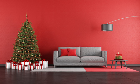 red sofa: Modern christmas living room with sofa,tree and present - rendering Stock Photo