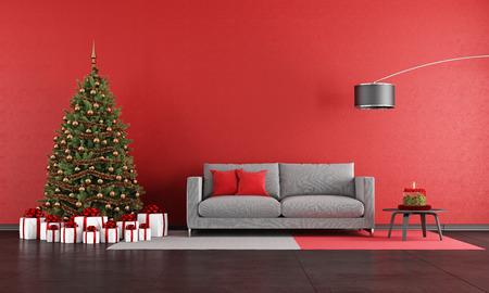 casa: Natale moderno soggiorno con divano, albero e presente - rendering
