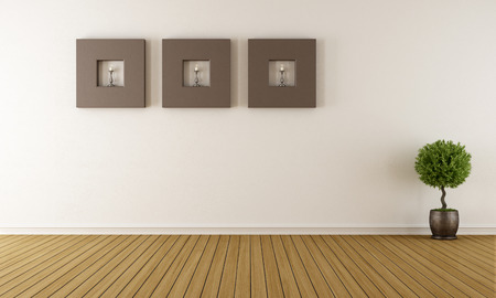 Contemporary empty room with brown frames with candles - rendering photo