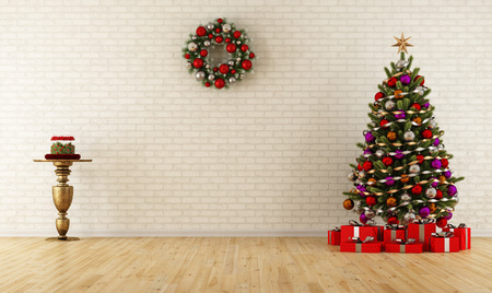 Christmas room with decoration,tree and gift - rendering