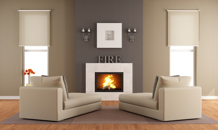 living rooms: Contemporary living room with fireplace ant two long chair - rendering