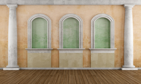 Old room with niche and classic column - rendering