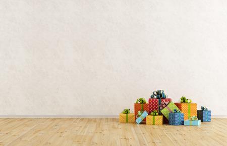 Пустая комната с красочными подарок на деревянный пол Фото со стока