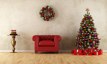 Red classic armchair in a room with christmas tree and wreath - rendering photo