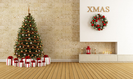 stone fireplace: Christmas lounge with fireplace and tree with gift - rendering Stock Photo