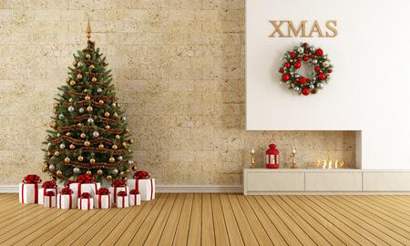 camino natale: Salone con camino di Natale e albero con regalo - rendering Archivio Fotografico