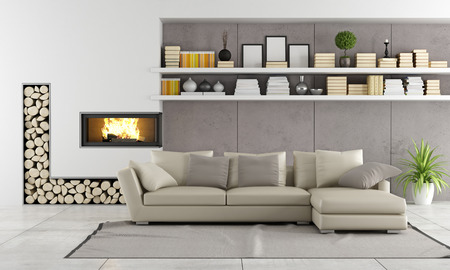 Modern living room with fireplace,sofa and shelves with books and objects - rendering