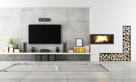 Modern living room with TV and fireplace - rendering Stok Fotoğraf