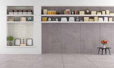 moderne woonkamer wit niche en planken zonder meubels - rendering