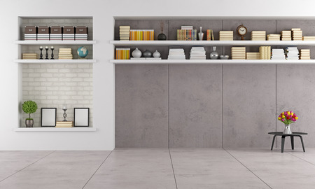 modern living room wit niche and shelves without furniture - rendering