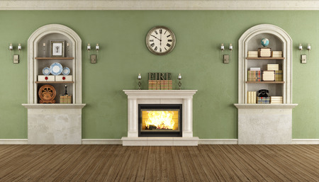 niches: Room in classic style with arched niches and fireplace - rendering Stock Photo