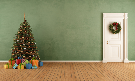 Old room with christmas tree,present and closed door - rendering Archivio Fotografico
