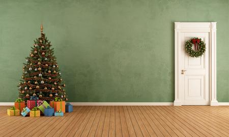 Viejo sitio con el árbol de Navidad, el presente y la puerta cerrada - representación