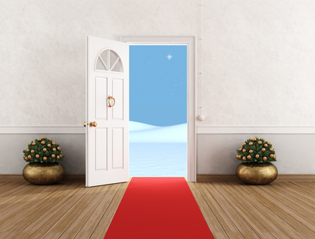 red wall: White home entrance with open door,little christmas tree and red carpet - rendering