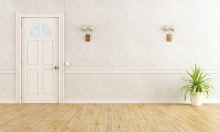 Trắng lối nhà cổ điển với cánh cửa đóng kín - render