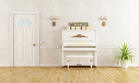 foyer: Home entrance with vertical piano and closed door - rendering