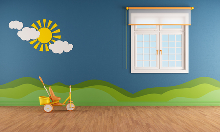 Blue kids room with window and decoration on wall - rendering photo