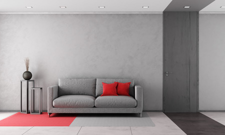Contemporary living room with gray sofa and closed door - rendering Stock Photo