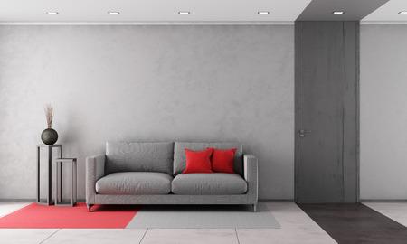 Zeitgenössische Wohnzimmer mit grauem Sofa und geschlossene Tür - Rendering Standard-Bild