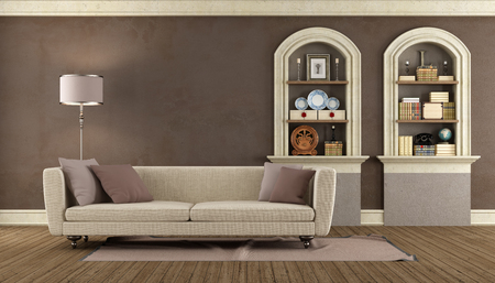 Vintage living room with modern sofa and arched niche - rendering