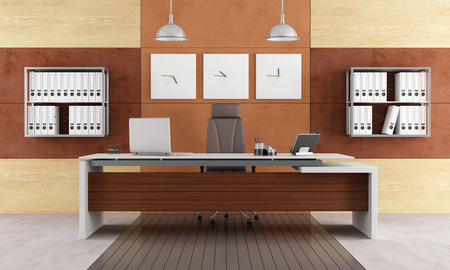 Elegant modern office with executive desk - rendering photo