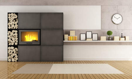 Minimalist iron fireplace in a contemporary living room - rendering