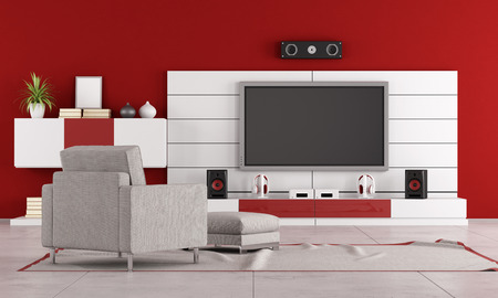 living room: Red living room with TV stand,speaker and armchair -rendering