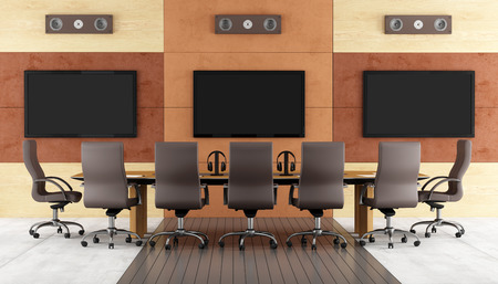 tv panel: Contemporary conference room with meeting table,chair and led monitor on wall - rendering Stock Photo