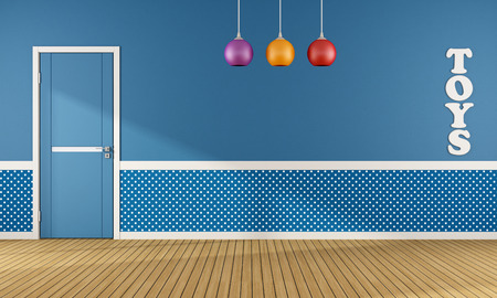 play room: Blue playroom with closed door and colorful chandelier - rendering