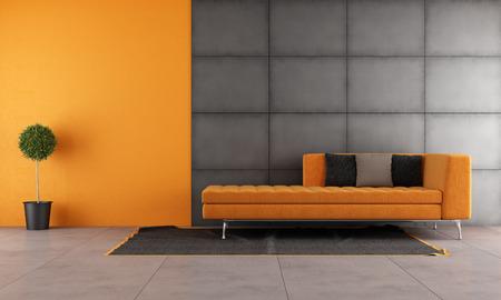 Black and orange living room with contemporary sofa photo