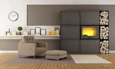 Современный зал с камином и креслом на ковер