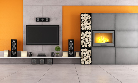 Contemporary living room with white wall unit and fireplace photo