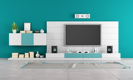 Contemporary living room with white wall unit photo