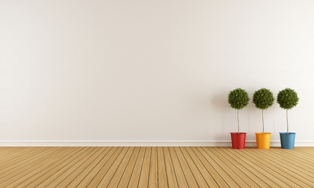 indoor plants: White room with three colorful vase on wooden floor Stock Photo