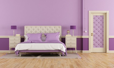 Purple bedroom in classic style with double bed and closed door photo