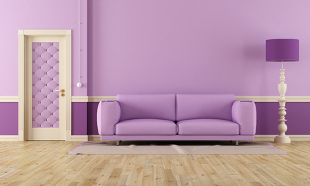 lilla: Purple room in classic style with modern sofa
