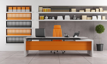 Contemporary office with orange executive desk