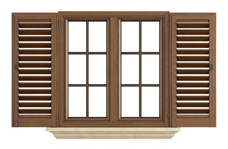 Houten raam met open sluiter geïsoleerd op wit - rendering