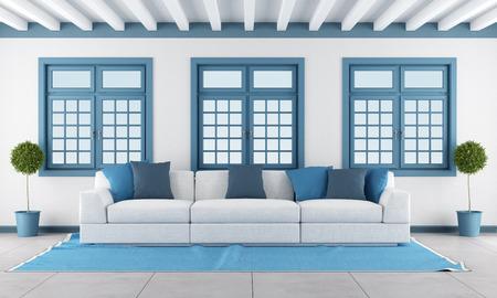 salotto minimalista con divano bianco e muro di mattoni rendering ... - Soggiorno Bianco E Blu