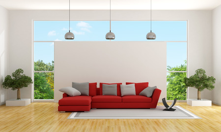 red couch: Contemporary living room with red couch and large window Stock Photo
