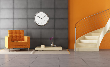 banister: Modern room with wooden staicase and orange armchair Stock Photo