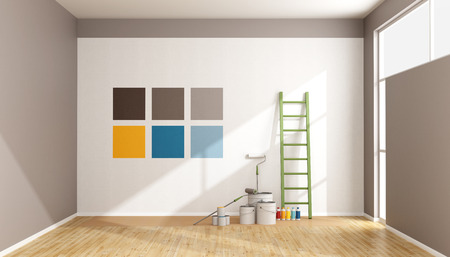 working at home: Seleccione la muestra de color para pintar la pared en una habitaci�n minimalista - sistema